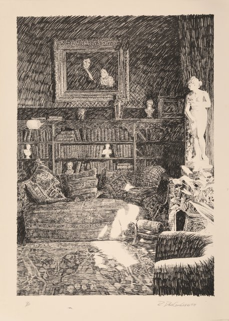 Roland DesCombes, 'Sketch of an Interior with Statue and Sketch of an  (two works)', 1979, Heritage Auctions