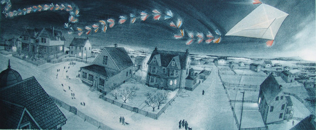 David Blackwood, 'Wesleyville, Cyril's Kite Over Blackwood's Hill', 1996, Abbozzo Gallery