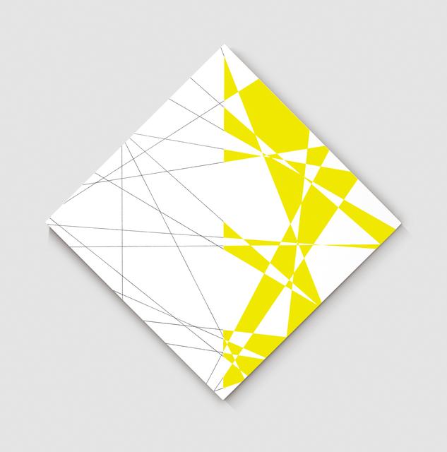 """, '20 lignes au hasard hybrides sur la pointe, blanc jaune (d'après n˚71067 """"20 lignes au hasard"""", 1971),' 2012, Gallery Hyundai"""