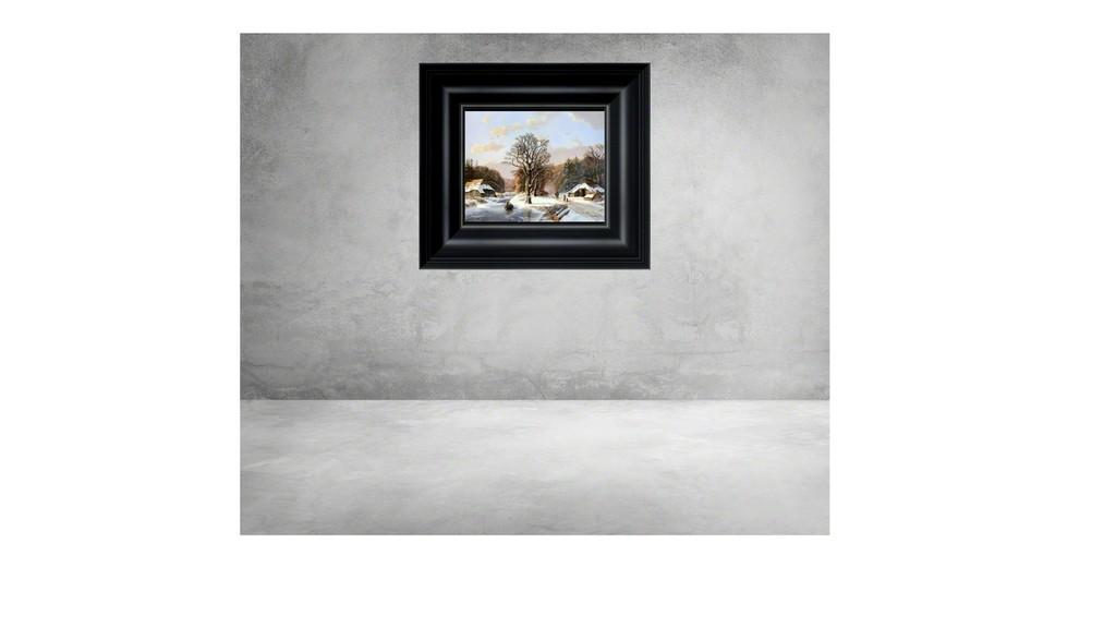 Romantic winter landscape with figures