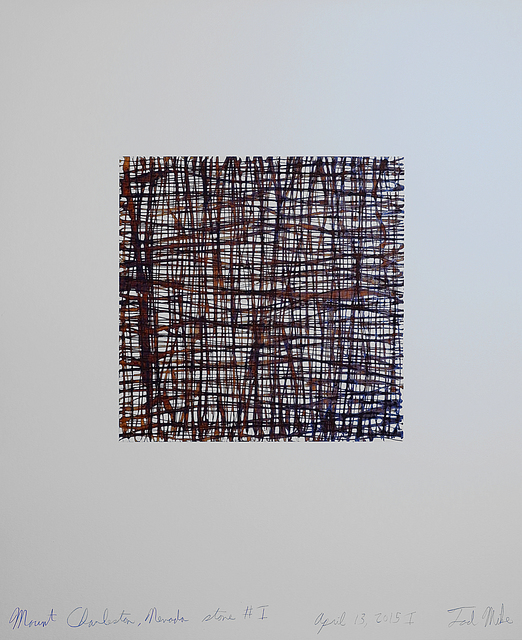 Tad Mike, 'Mount Charleston, Nevada Stone #1 April 13, 2015 I', Drawing, Collage or other Work on Paper, Watercolor and Walnut ink with chine-collé on BFK rives paper, Margaret Thatcher Projects