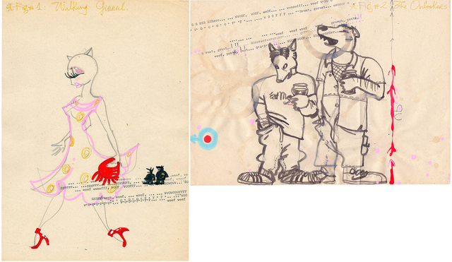 Itziar Bilbao Urrutia, 'Cat Calling Diptych', 1999, Drawing, Collage or other Work on Paper, Felt tips, ball point pens and typewriter text on paper, IFAC Arts