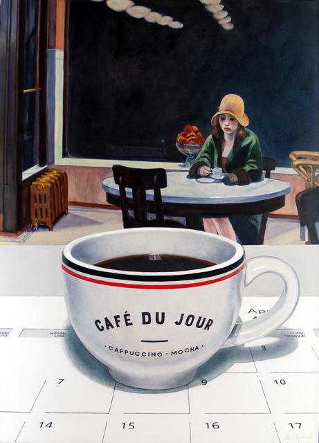 Alvin Richard, 'Un café du jour la nuit à l'Automat (un hommage à Edward Hopper)', 2020, Painting, Acrylique sur panneau d'aluminium monté enduit de gesso / Arcylic on Mounted Gessoed Aluminium Panel, Galerie de Bellefeuille