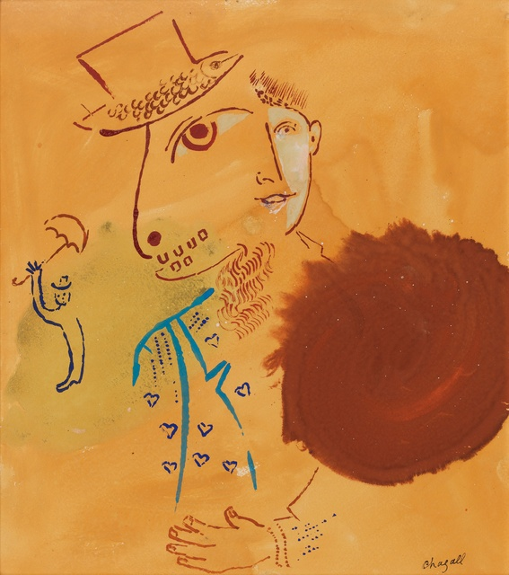 Marc Chagall, 'Double Profil', 1938, Drawing, Collage or other Work on Paper, Gouache and ink on paper, Omer Tiroche Gallery