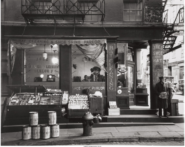 Berenice Abbott, 'Shoe Shine Parlor, Pearl Street', 1938, Heritage Auctions