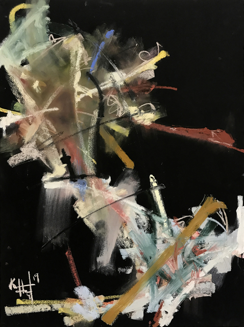 Ken Hogrefe, 'Sound in Color 4', 2019, Drawing, Collage or other Work on Paper, Oil, Pigment Stick and Soft Pastel on Black Rag Paper, The Art House