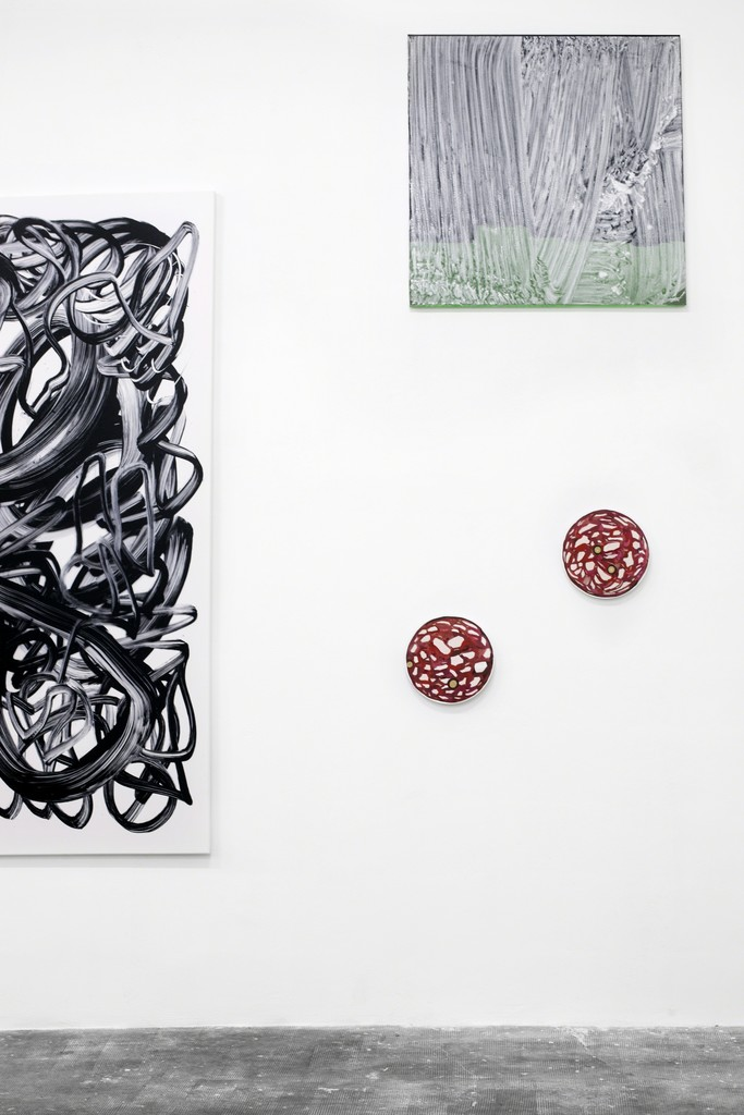 Installation view, details (left to right: Fabio Marco Pirovino, Thomas Kratz, Paul Branca)