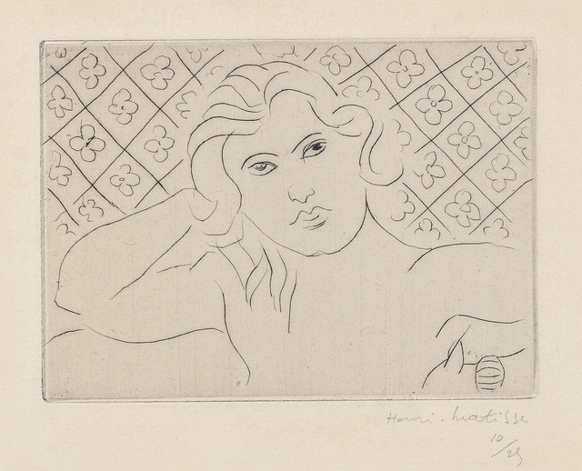 Henri Matisse, 'Torse, fond fleuri (Torso, with Flowery Background)', 1929, Print, Drypoint, with Chine-collé to Arches paper, with full margins., Phillips