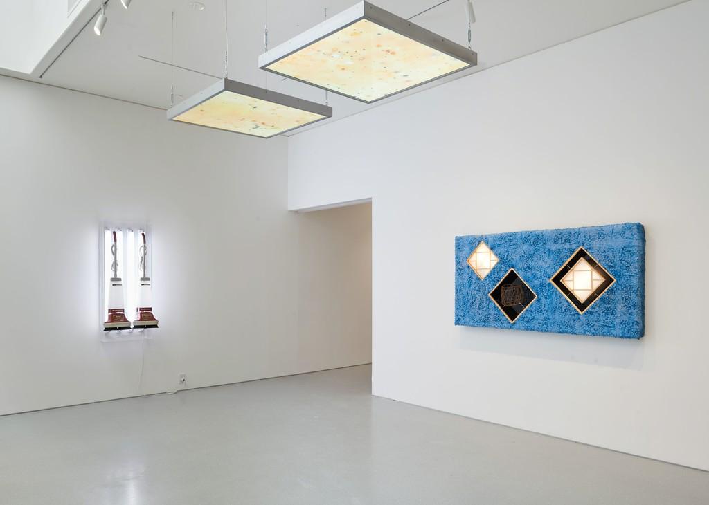 Installation view. Artwork, left to right: © Jeff Koons, © Anicka Yi. Photo: Glen Cheriton. Courtesy Gagosian.