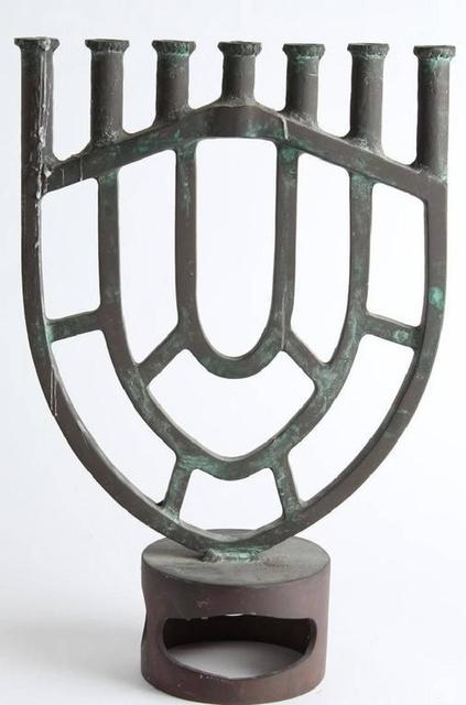 Gloria Kisch, 'Heavy Bronze Modernist Menorah Candelabra Sculpture', 20th Century, Lions Gallery