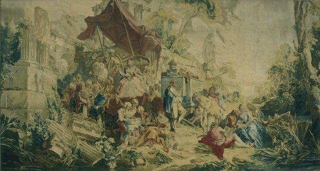 "François Boucher, 'Tapestry with the Scenes ""L'Operateur"" and ""La Curiosité""', 1736, Hillwood Estate, Museum & Gardens"