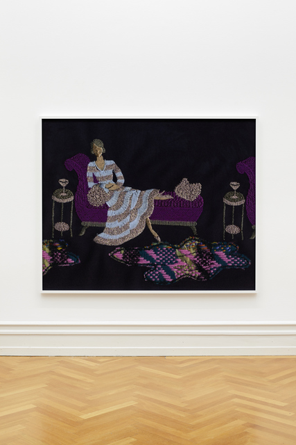 , 'Lady in Striped Dress on Daybed (silver, blue, purple),' 2018, VI, VII