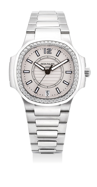 Patek Philippe, 'An attractive lady's stainless steel and diamond-set wristwatch with date, center seconds, bracelet, certificate and presentation box', Circa 2014, Phillips