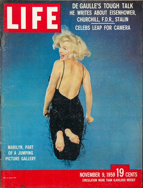 , 'Cover of the magazine Life with a portrait of Marilyn Monroe jumping by Philippe Halsman, November 9,' 1959, Musée de l'Elysée