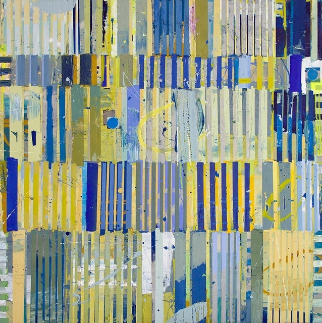 "Jylian Gustlin, '""Magicus Quadratus 17"" Abstract Painting in Blue Yellow Green inspired by Mathematical Concept', 2010-2017, Eisenhauer Gallery"