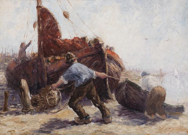 Leonard Gustaaf Imandt, 'Fishermen pulling a boat ashore', First half 20th century, Daatselaar Fine Art & Antiques