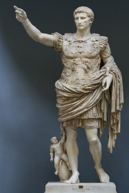'Augustus of Primaporta, perhaps a copy of a bronze statue of ca. 20 B.C.', Early 1st century, Art History 101