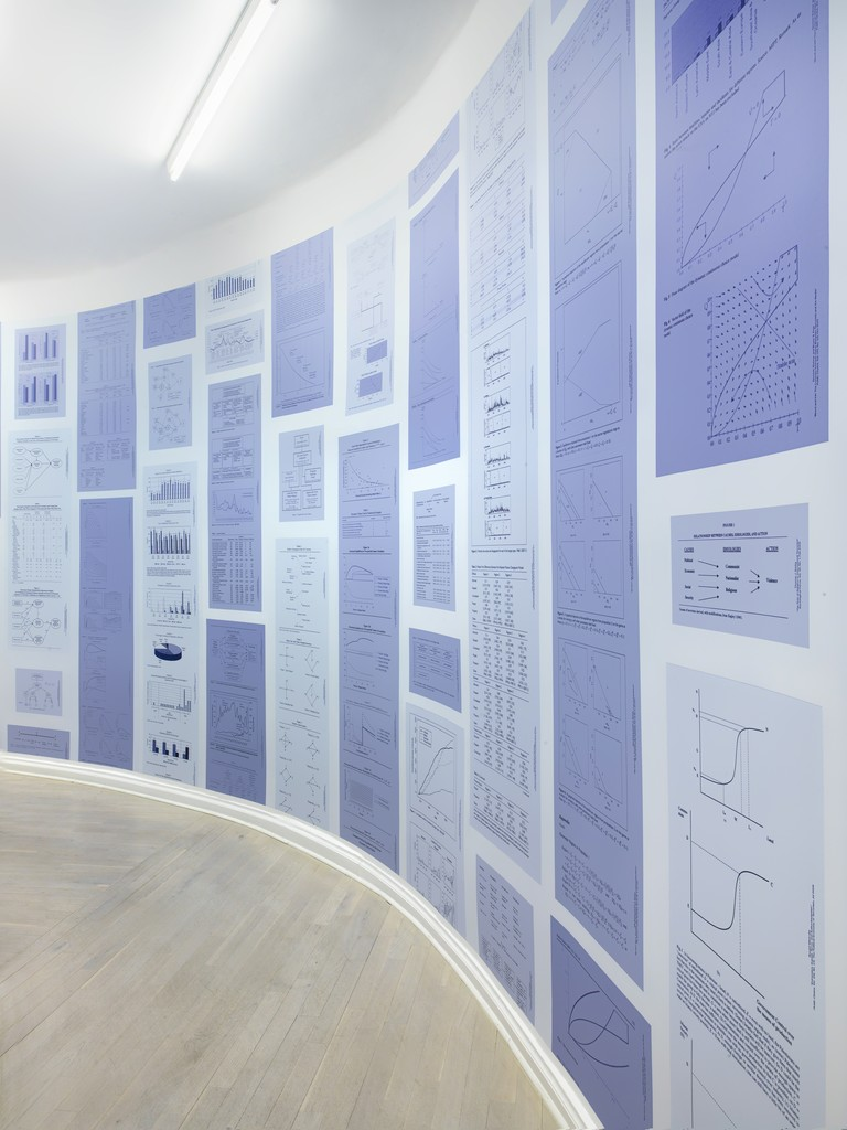 """Eric Baudelaire, FRAEMWROK FRMAWREOK FAMREWROK..., , 2016, Wallpaper, variable dimensions (144 linear meters total), Edition 2/5,  Installation view of """"A Form that Accommodates the Mess"""", Barbara Wien, Berlin 2016"""