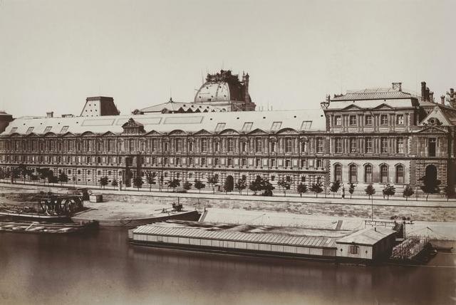 Édouard Baldus, 'La Fascade Meridionale de la Grand Galerie, Paris', 1855-57, Photography, Non-matte salt print from wet plate negative on original mount., Contemporary Works/Vintage Works