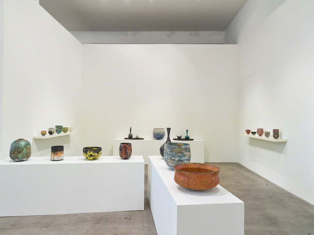 "Installation view of ""Transfigured."" with ceramics by Jay Kvapil"