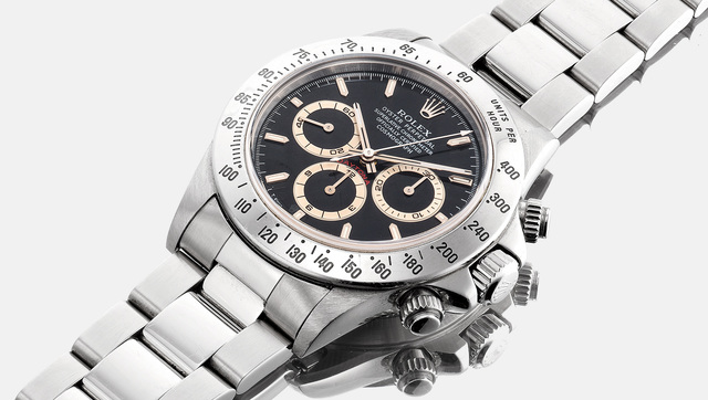 Rolex, 'A fine and very rare stainless steel chronograph wristwatch with tropical dial and bracelet', Circa 1997, Phillips