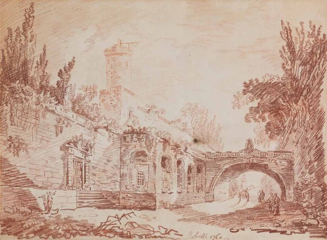 , 'Figures on a road beside a walled village, a cart beyond the bridge,' 1760, Christie's Old Masters
