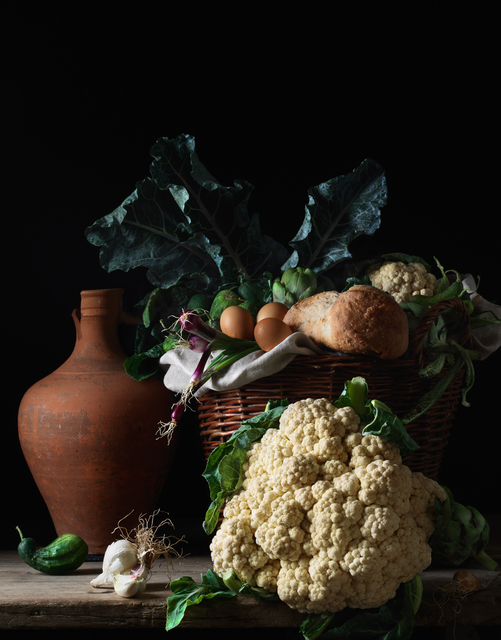 Paulette Tavormina, 'Still Life with Cauliflower and Bread, after L.M. (from the series Bodegón)', 2014, Robert Klein Gallery