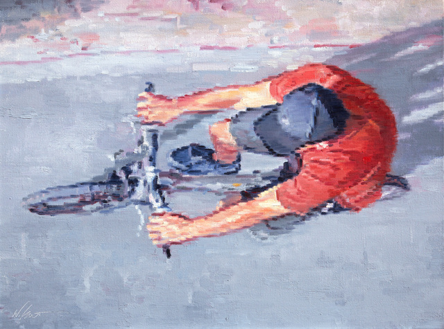 , 'Aerial View of Man in Red Shirt Riding Bicycle,' 2016, ViVO Contemporary