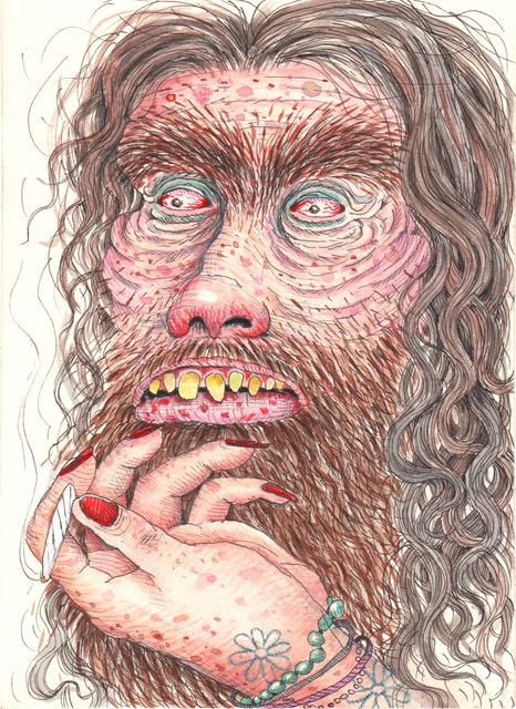 Rebecca Morgan, 'Hippie Mountain Man with Slipping Joint', 2015, Drawing, Collage or other Work on Paper, Pen and watercolor on paper, Asya Geisberg Gallery