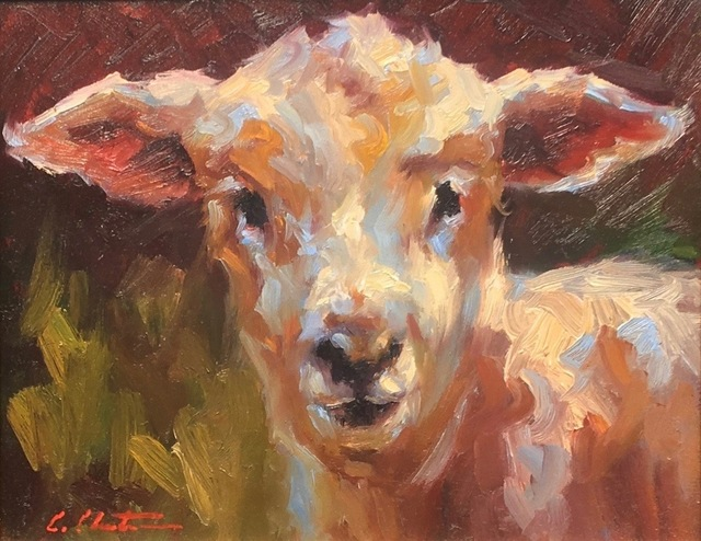 ", '""Lamb Chop"" Painterly Depiction of a Lamb's Face in Bright Neutrals and Green,' 2018, Eisenhauer Gallery"