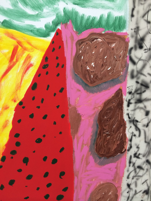 Shara Hughes, 'Cave Home', 2015, Painting, Oil, acrylic, chalk and airbrush on canvas, Romer Young Gallery