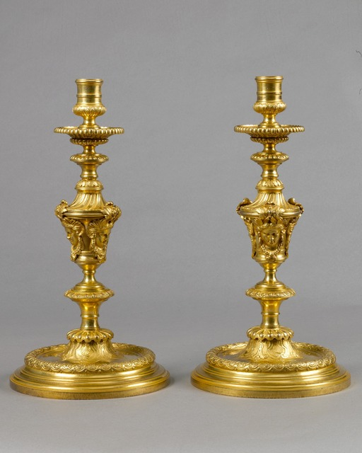 , 'An exceptional and very rare pair of large Louis XIV baluster-shaped chased and giltbronze candlesticks,' , Kraemer Gallery - Paris
