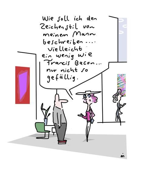 , 'Wie soll ich den Zeichenstil von meinem Mann beschreiben?,' 2018, Galerie Floss & Schultz