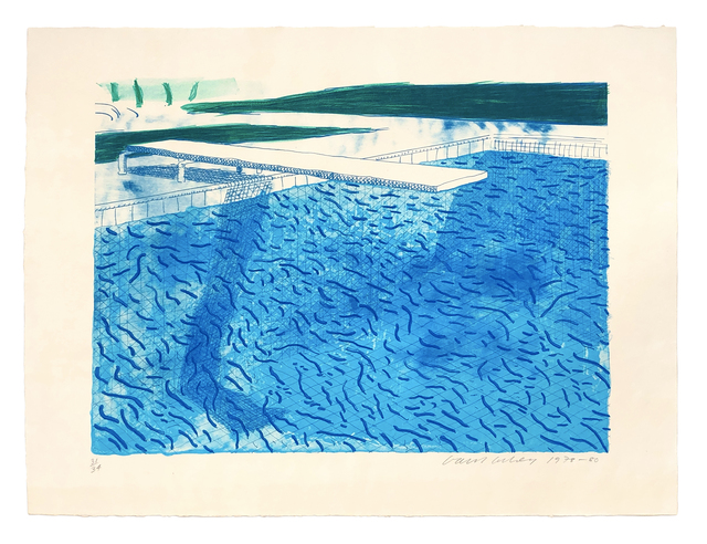 David Hockney, 'Lithograph of Water Made of Thick and Thin Lines and a Light Blue and a Dark Blue Wash', 1978-1980, ARCHEUS/POST-MODERN