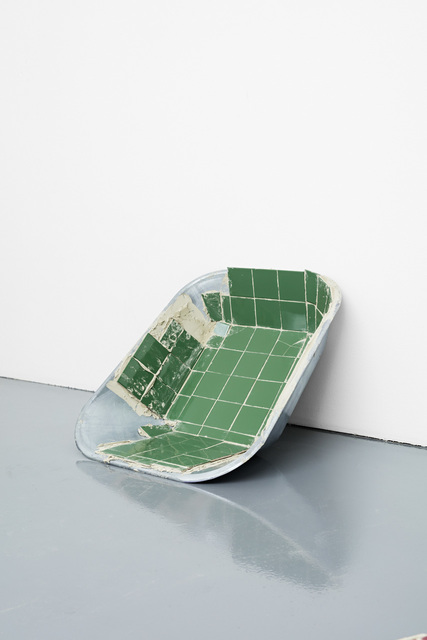 Matias Faldbakken, 'Tiled Wheelbarrow Tray', 2016, Sculpture, Ceramic tiles and tile adhesive on wheelbarrow tray, Paula Cooper Gallery