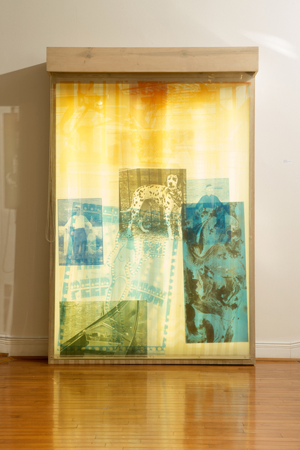 Robert Rauschenberg, 'Sling-Shots Lit #8', 1985, Installation, Screenprint in colors on sailcloth and mylar sheets, wooden lightbox, fluorescent light, and moveable window shades, Wexler Gallery