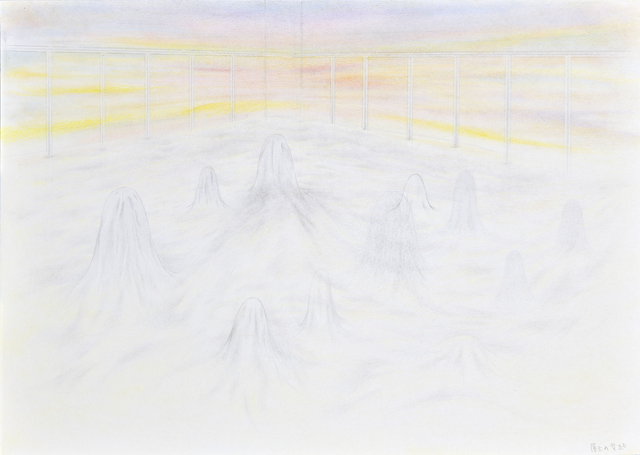 Tomoko Kashiki, 'Protrusions on the Rooftop', 2017, Painting, Pencil, coloured pencil, pastel, paper, Ota Fine Arts