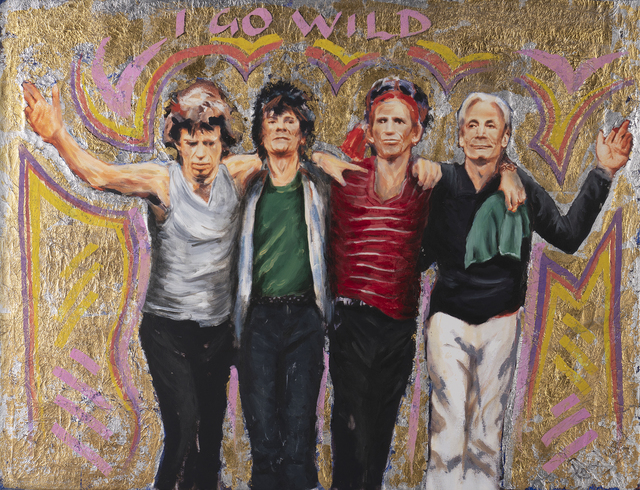 Ronnie Wood, 'Forty Licks- I Go Wild', 2018, Drawing, Collage or other Work on Paper, Oil paint and gold leaf embellished artwork., Castle Fine Art