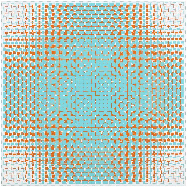 , 'turquoise-orange(A),' 2018, Galerie Denise René