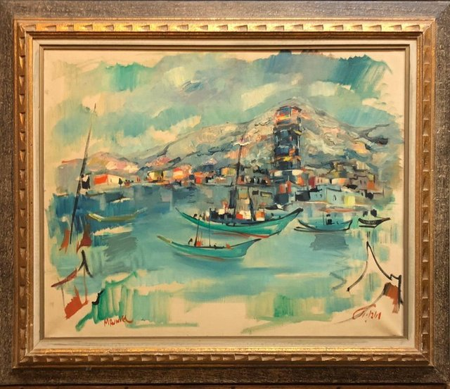 Mordechai Avniel 1940s Israeli Modernist Oil Painting Marine Harbor Landscape Bezalel School 20th Century Available For Sale Artsy