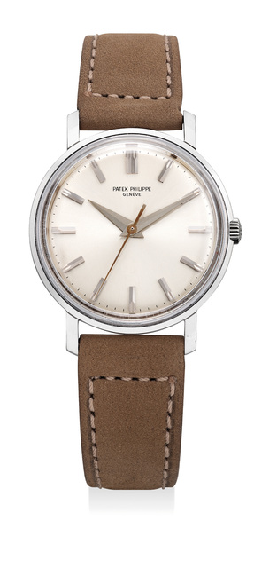 Patek Philippe, 'An attractive and very rare white gold wristwatch with center seconds, original Isshin guarantee and presentation box', 1963, Phillips