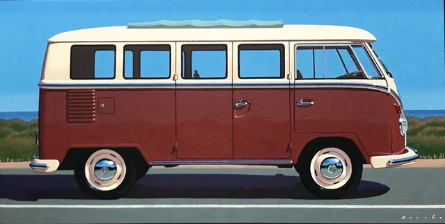 "Rob Brooks, '""Samba at State"" Photorealistic oil painting of a maroon Volkswagen Bus with Blue Sky', 2019, Eisenhauer Gallery"