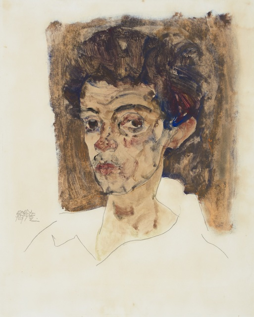 , 'Self-Portrait with Brown Background,' 1912, Galerie St. Etienne