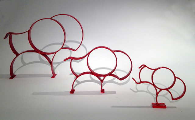 , 'Red Bison Family,' 2018, Diehl Gallery