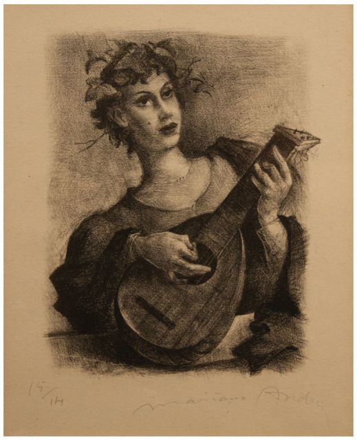 , 'Mandolin player,' ca. 1947, Artur Ramon Art