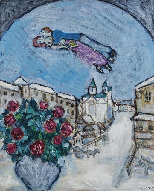 Marc Chagall, 'Amoureux dans le Ciel ou Village Enneigé (Vitebsk)', 1928-1930, Painting, Oil on board, David Benrimon Fine Art