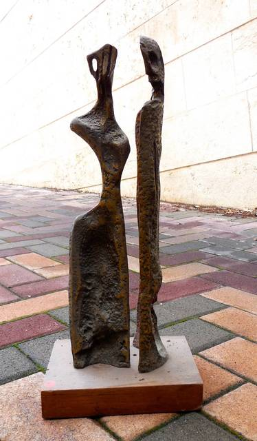 Aharon Bezalel, 'Two Figures (Art Brut Bronze Sculpture)', 1960-1969, Lions Gallery