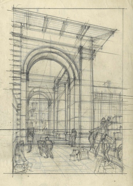 , 'Untitled (Architectural Study),' ca. 1925, Redfern Gallery Ltd.