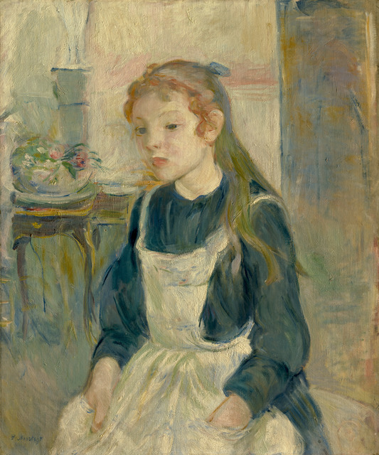 Berthe Morisot, 'Young Girl with an Apron', 1891, Painting, Oil on canvas, National Gallery of Art, Washington, D.C.