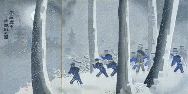 Kobayashi Kiyochika 小林清親, 'Violent Battle in Snow near Niuzhuang', 1895, Saint Louis Art Museum